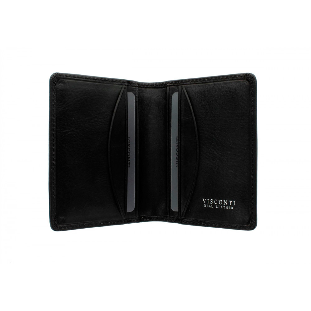 Кожаная кредитница-визитница с RFID Visconti TSC40 - Camper (black)
