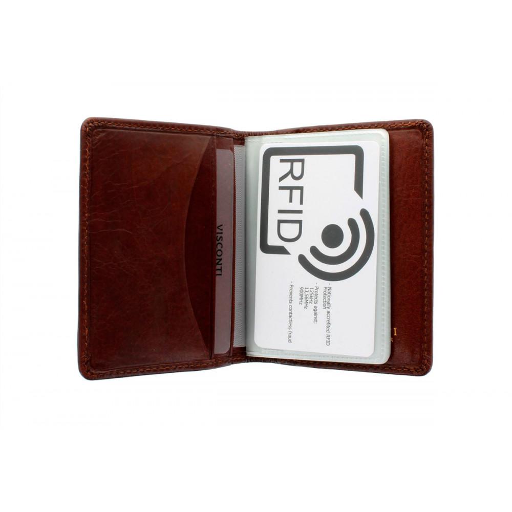 Кожаная кредитница-визитница с RFID Visconti TSC40 - Camper (tan)