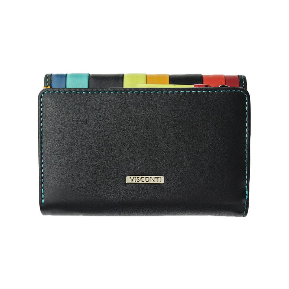 Женский кожаный кошелек Visconti STR3 с RFID - Halki (black multi)