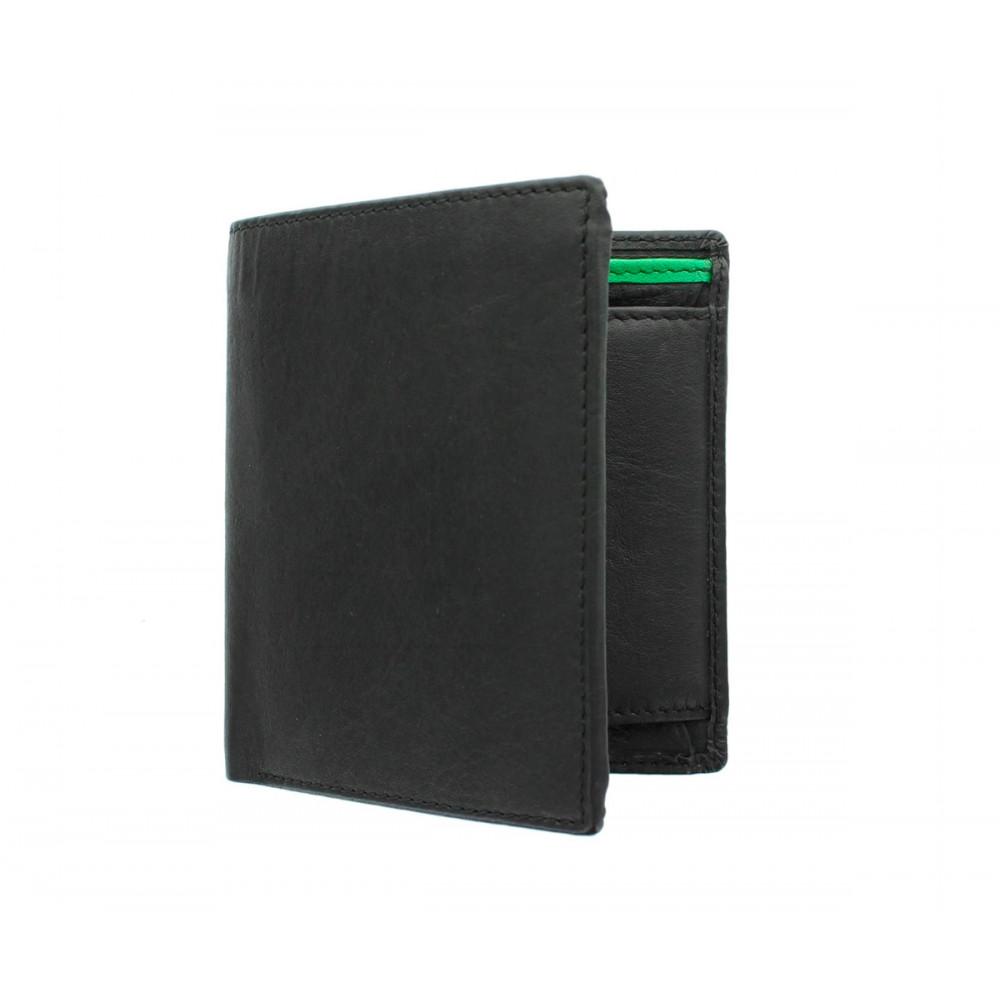 Мужской кожаный кошелек с монетницей Visconti BD22 c RFID - Dr. No (Black/Cobalt/Green)