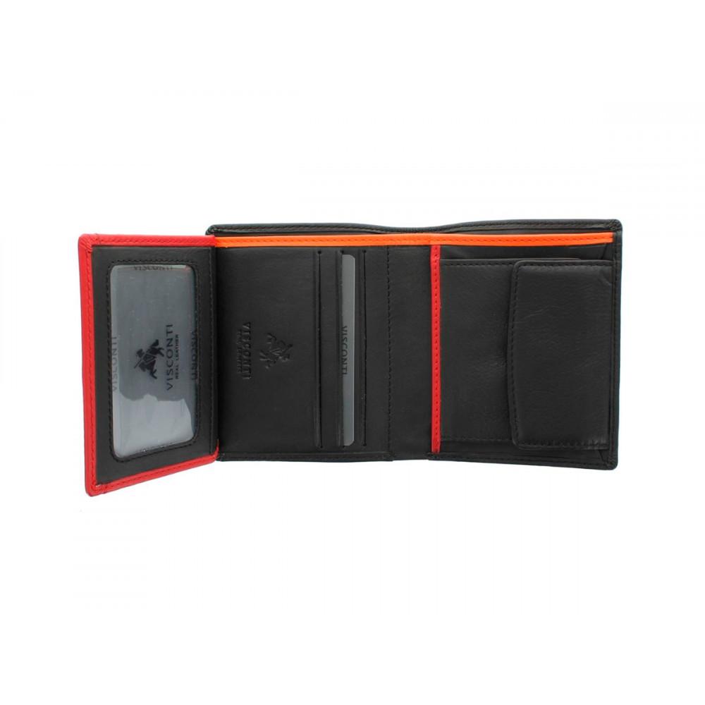 Мужской кожаный кошелек с монетницей Visconti BD22 c RFID - Dr. No  (Black/Red/Orange)