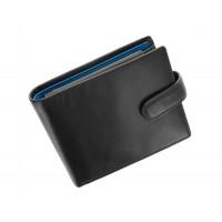 Мужской кожаный кошелек Visconti PM-102 - Leonardo (black/cobalt)