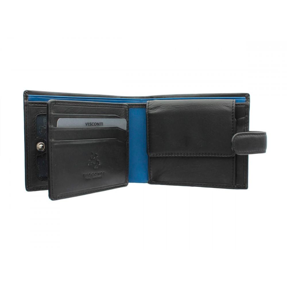Мужской кошелек Visconti PM102 - Leonardo (black/cobalt)