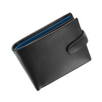 Мужской кожаный кошелек Visconti PM-100 - Vincent (black/cobalt)