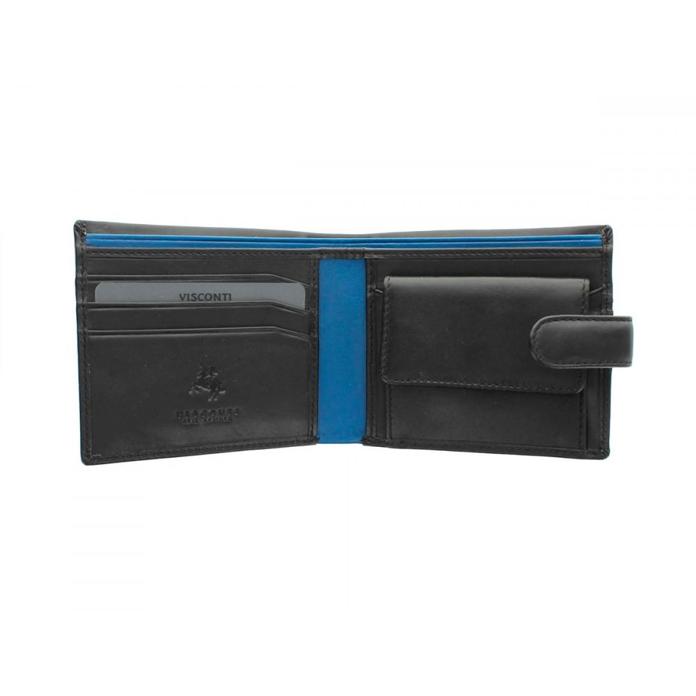 Мужской кожаный кошелек Visconti PM100 - Vincent (black/cobalt)
