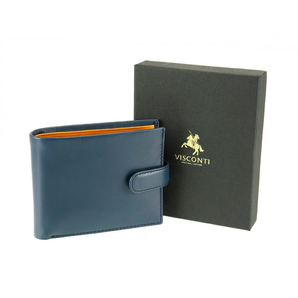 Мужской кожаный кошелек Visconti PM100 - Vincent (blue/must)