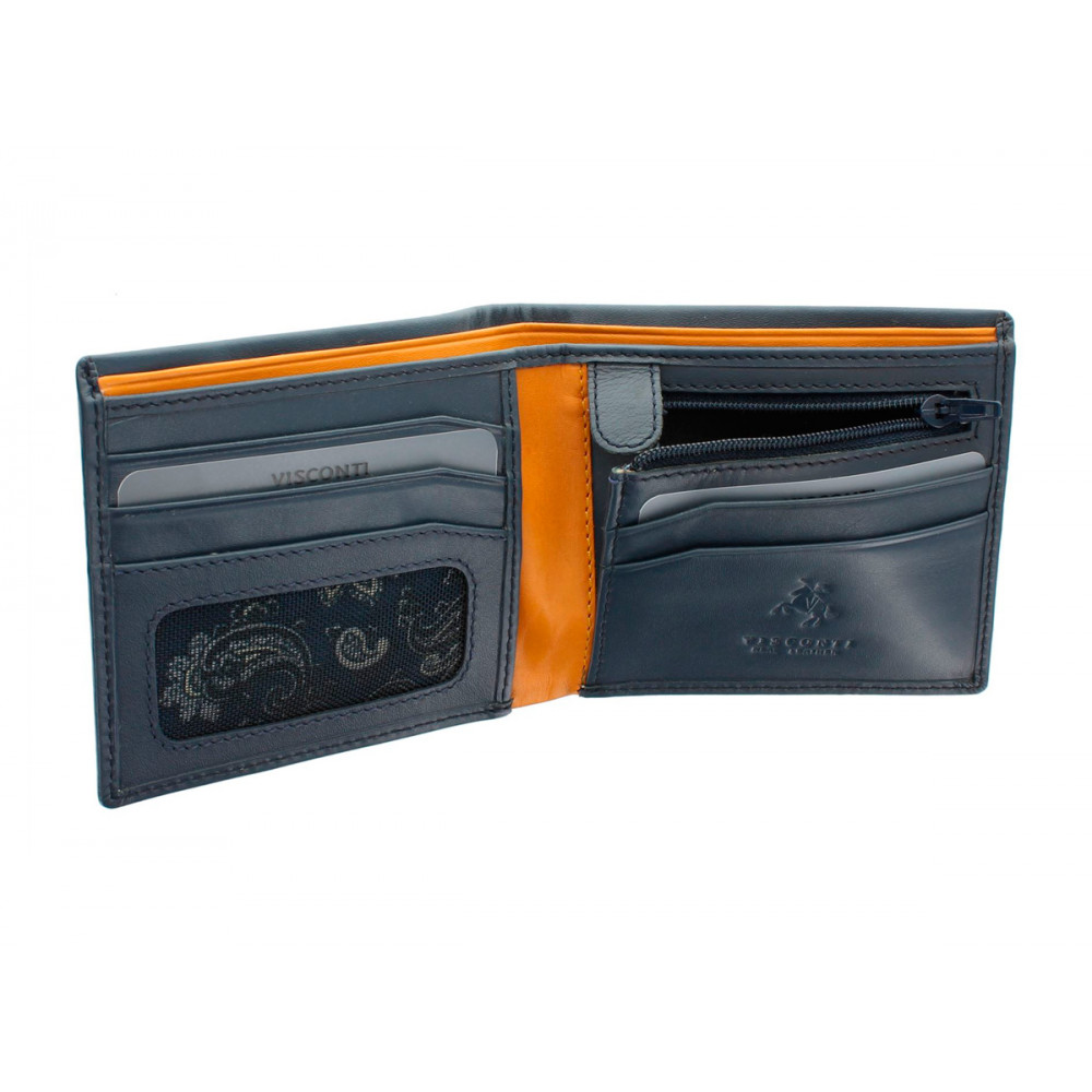 Мужской кожаный кошелек Visconti PM101 - Pablo (blue/must)