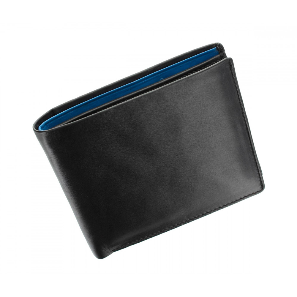 Мужской кожаный кошелек Visconti PM101 - Pablo (black/cobalt)