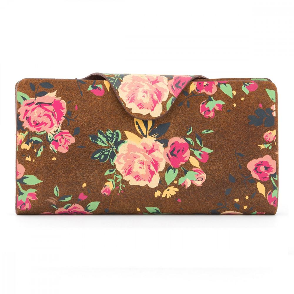 Кожаный кошелек Satchel Yoshi Y1311FLR - Hunter roses (brown)