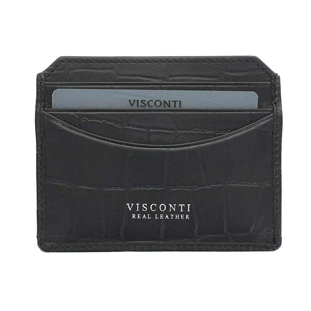 Кожаная кредитница-кардхолдер Visconti CR90 - Scale (black)