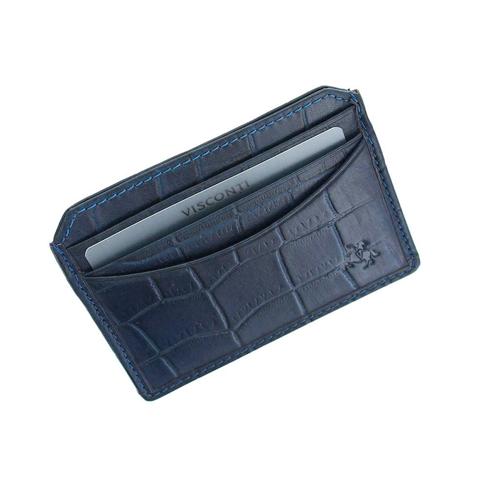 Кожаная кредитница-кардхолдер Visconti CR90 - Scale (blue)
