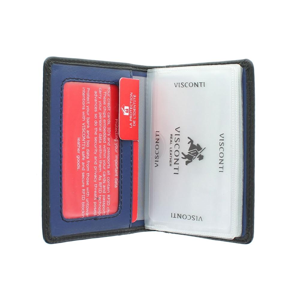 Кожаная кредитница Visconti VSL24 с RFID - (black/cobalt)
