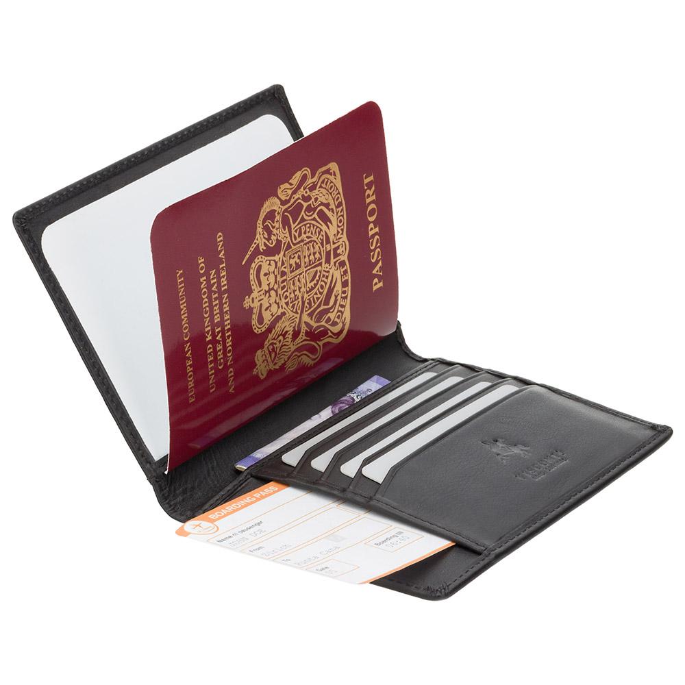 Кожаная обложка для паспорта Visconti 2201 - Polo (black)