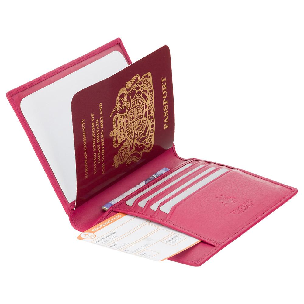 Кожаная обложка для паспорта Visconti 2201 - Polo (fuchsia)
