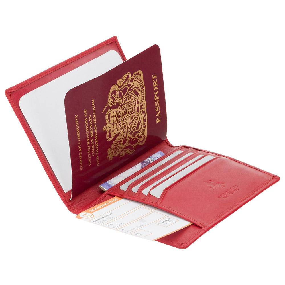 Кожаная обложка для паспорта Visconti 2201 - Polo (red)