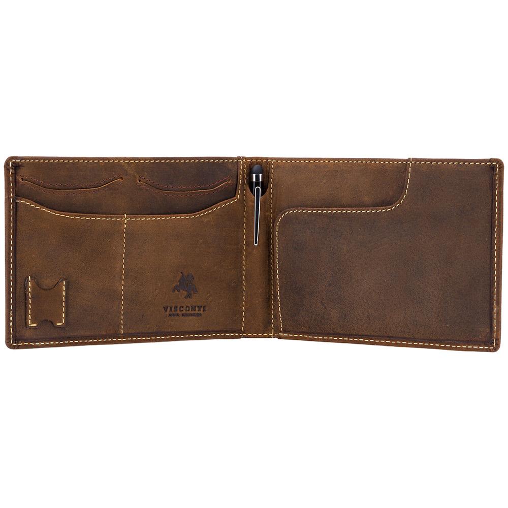 Мужской кожаный кошелек для путешествий Visconti 726 - Jet (oil tan)