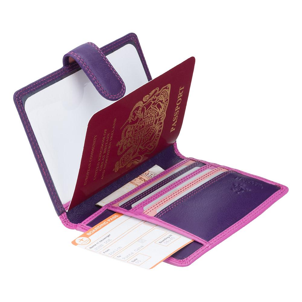Кожаная обложка для паспорта Visconti RB75 Sumba (berry multi)