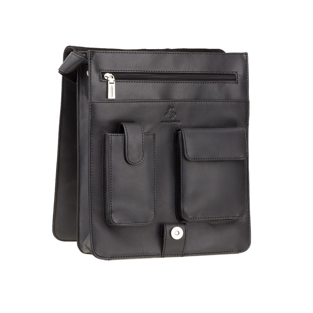 Мужская кожаная сумка-мессенджер Visconti 18410 Jasper (Black)