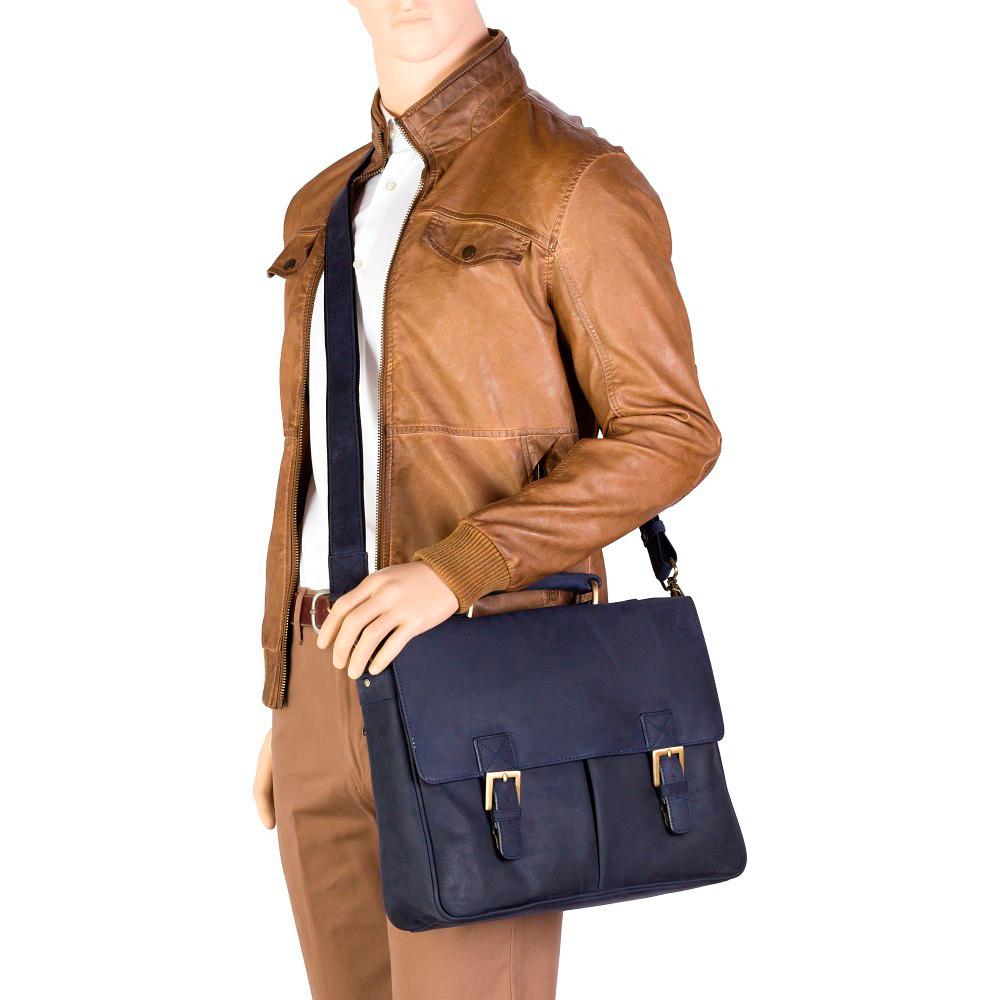 Мужской кожаный портфель Visconti 18716 Berlin (oil brown)