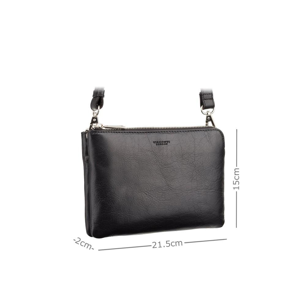 Маленькая кожаная сумка для планшета Visconti S9 Eden (Black)