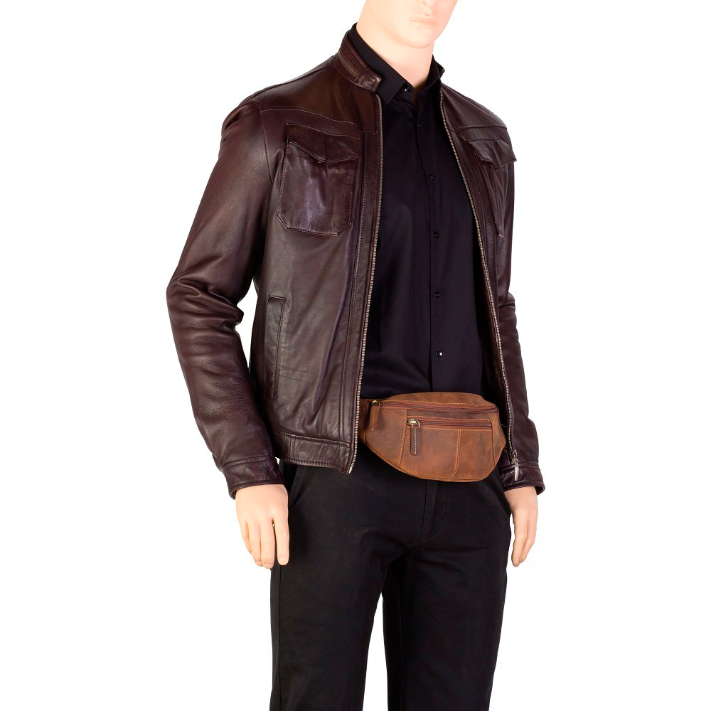 Мужская сумка на пояс Visconti 721 - (Oil Brown)