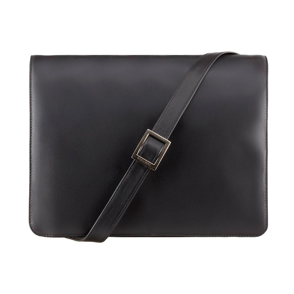 Мужская кожаная сумка-мессенджер Visconti 753 - Tess [L] (Black)