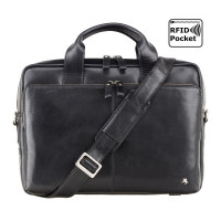 Мужская кожаная сумка Visconti ML-30 - Hugo (black)