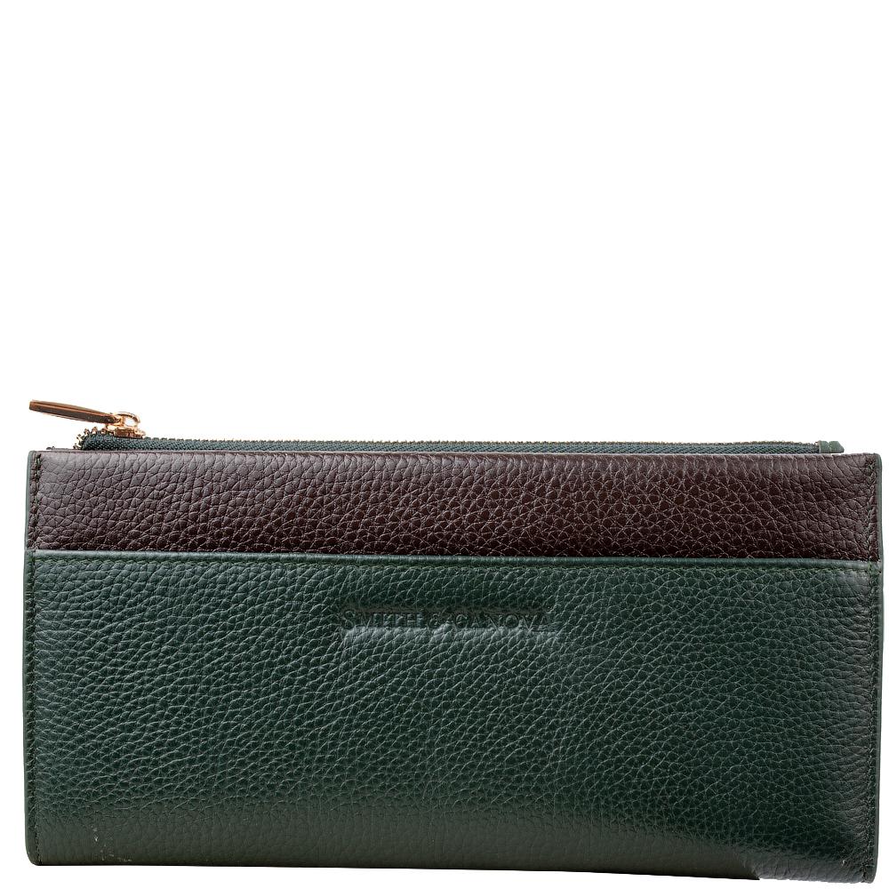 Женский кошелек Smith & Canova 26801 - Althorp (Green-Brown)
