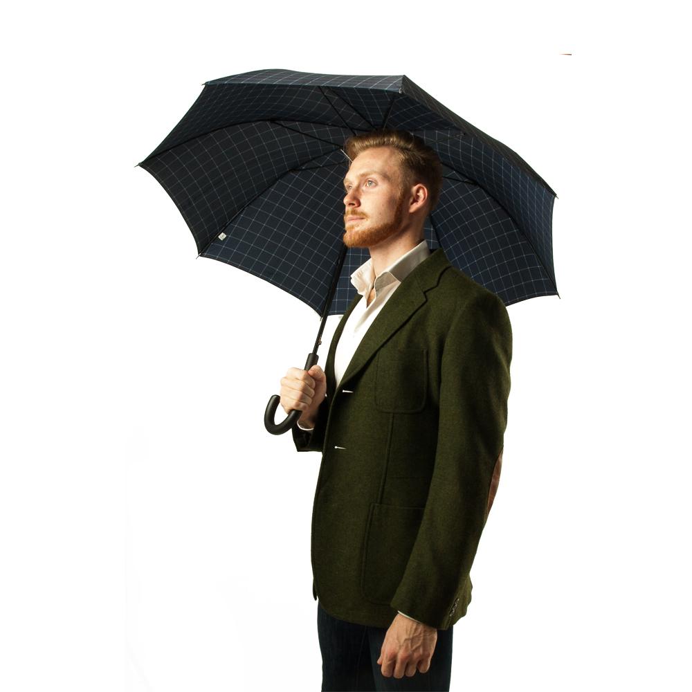 Мужской зонт-трость полуавтомат Fulton Shoreditch-2 G832 Window Pane Check (Клетка)