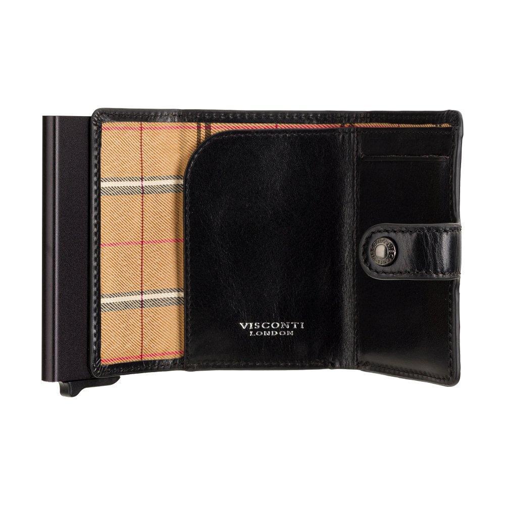 Кожаный кошелек-картхолдер Visconti ENZ80 Speziale (Black Shadow)