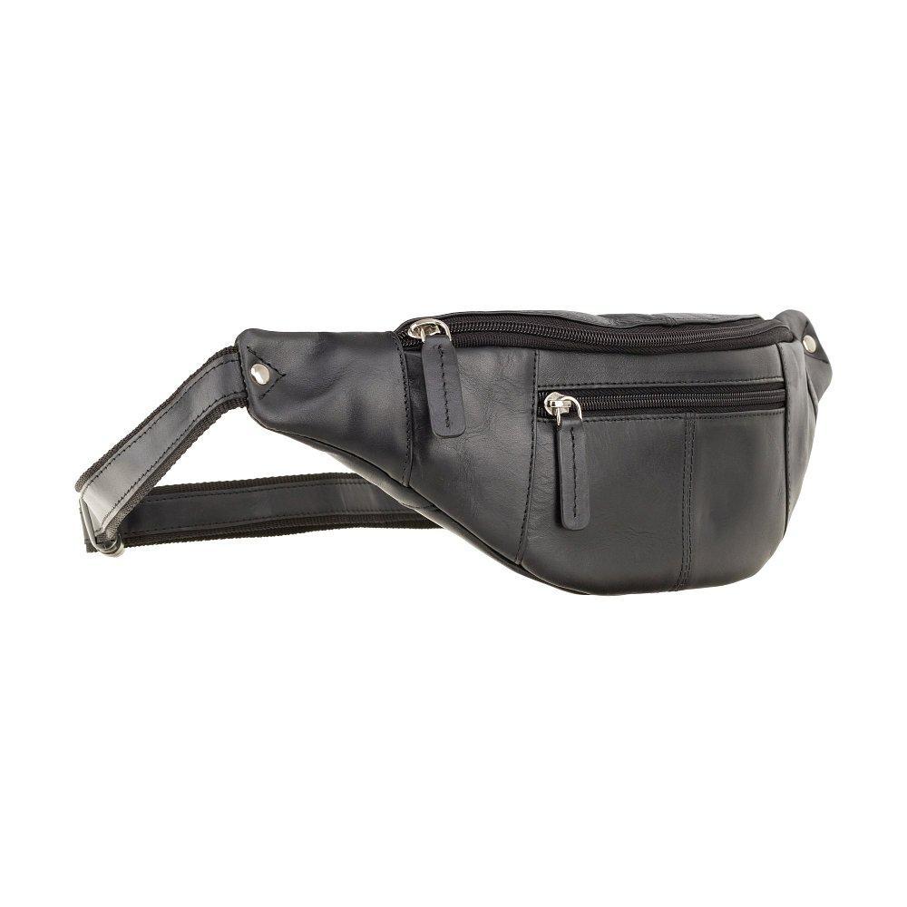 Кожаная сумка на пояс Visconti 721 Bumbag Large (Black)