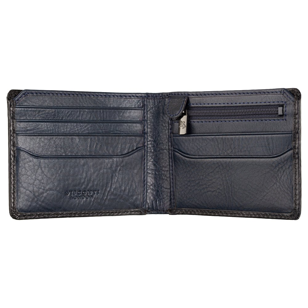 Мужской кожаный кошелек Visconti AT63 Roland c RFID (Burnish Blue)