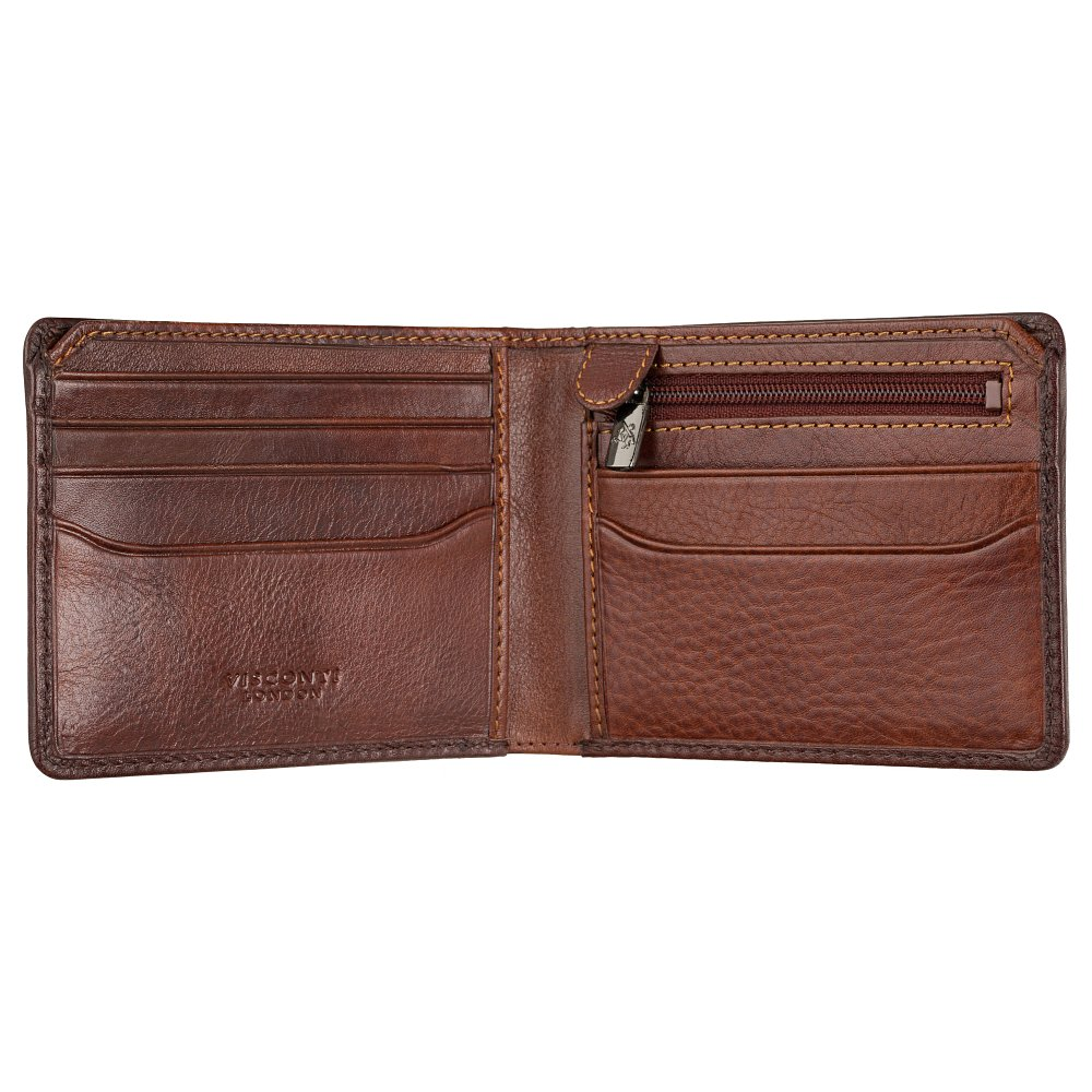 Мужской кожаный кошелек Visconti AT63 Roland c RFID (Burnish Tan)