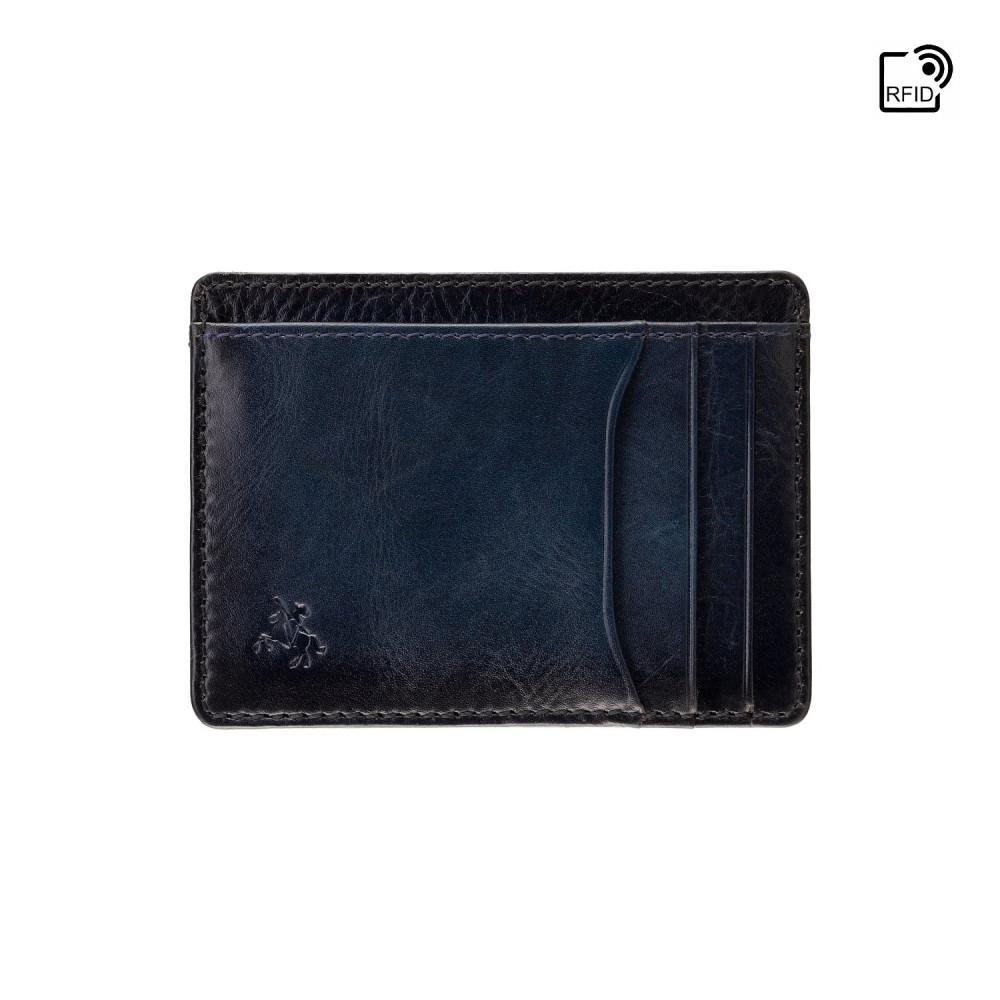 Кожаный картхолдер Visconti AT67 Madison с защитой RFID (Burnish Blue)