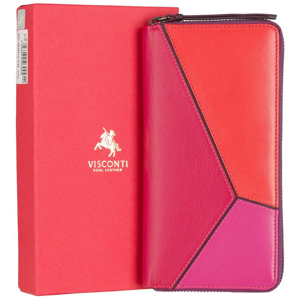 Женский кожаный кошелек Visconti BRC98 с защитой RFID Julia (Berry Kiss)