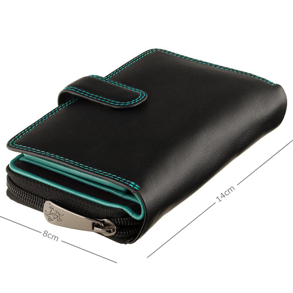 Женский кожный кошелек Visconti R13 Carmelo c RFID (Black/Rhumba)