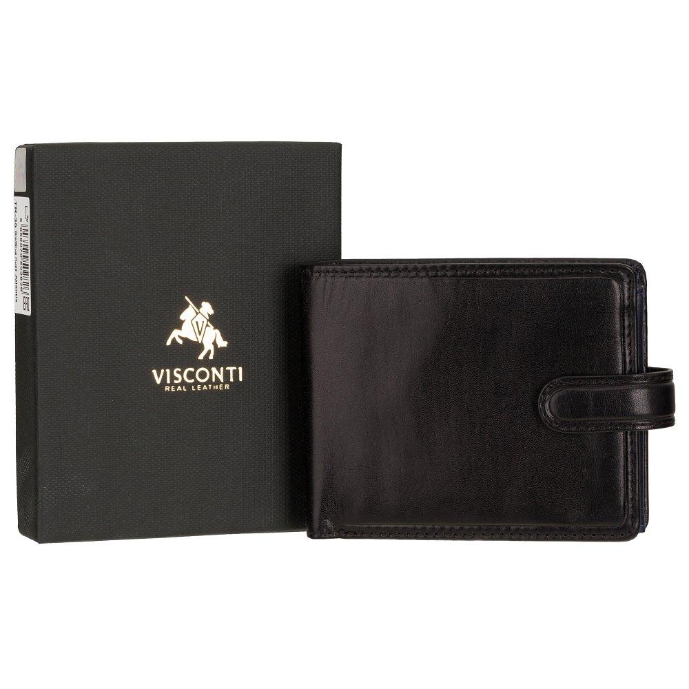 Мужской кожаный кошелек черно-зеленого цвета Visconti TR35 с RFID Atlantis (Black-Blue)