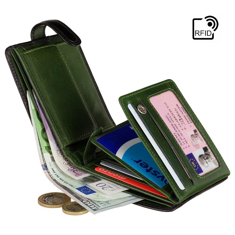 Мужской кожаный кошелек черно-зеленого цвета Visconti TR35 с RFID Atlantis (Black-Green)