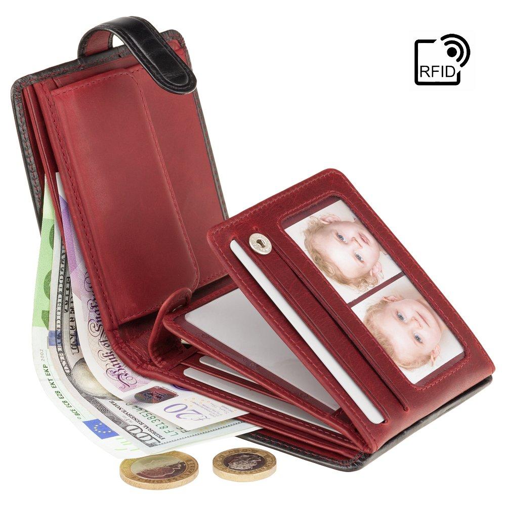 Мужской кожаный кошелек с RFID Visconti TR30 Raffle (Black-Red)