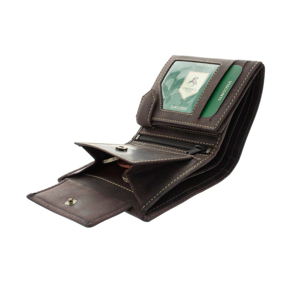Мужской кожаный кошелек без застежки с монетницей Visconti 708 - Spear (Oil Brown)