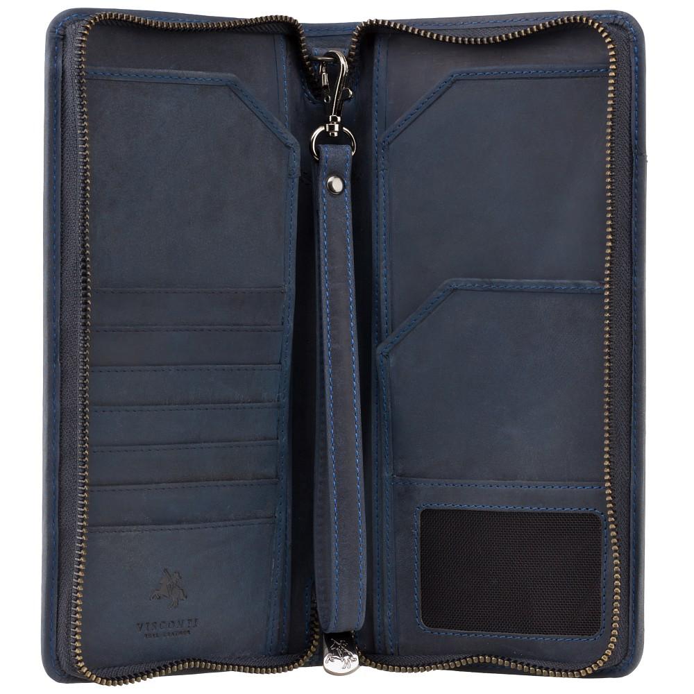 Кожаный кошелек-клатч для путешествий Visconti 728 Wing (Oil Blue)