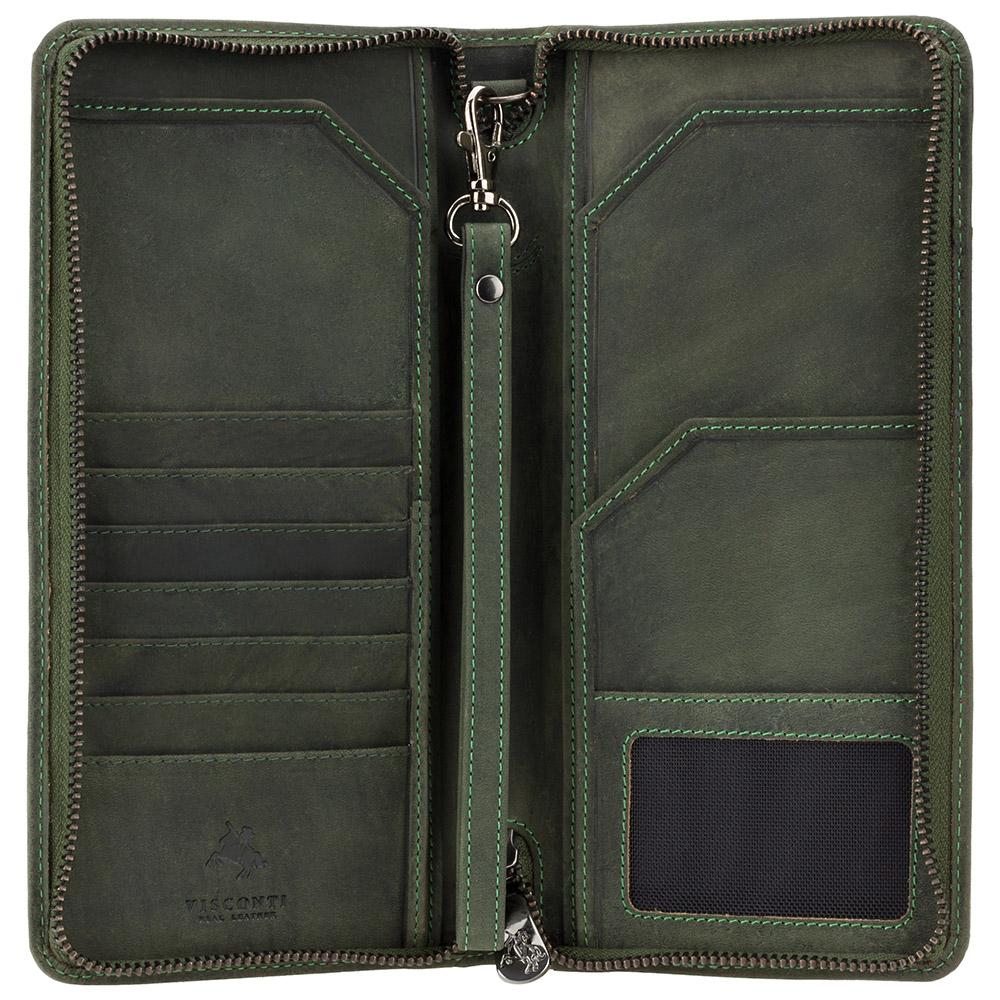 Мужской кожаный клатч (тревелер) Visconti 728 Wing с RFID (Oil Green)