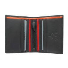 Мужской кожаный кошелек без монетницы Visconti BD14 c RFID - James (Black/Red/Orange)