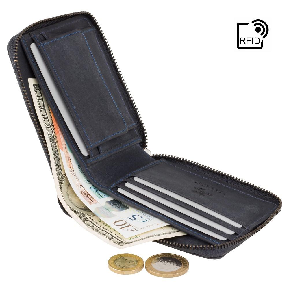 Мужской кожаный кошелек на молнии с монетницей Visconti 702 - Bullet (oil blue)