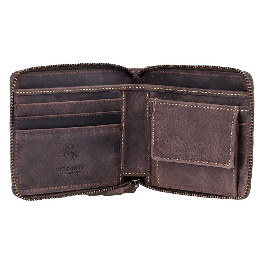 Мужской кожаный кошелек на молнии с монетницей Visconti 702 - Bullet (oil brown)