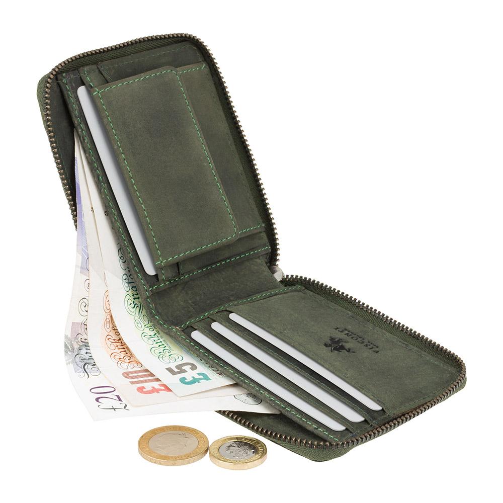 Мужской кожаный кошелек на молнии с монетницей Visconti 702 - Bullet (oil green)
