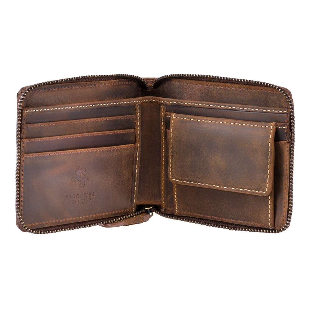 Мужской кожаный кошелек на молнии с монетницей Visconti 702 - Bullet (oil tan)