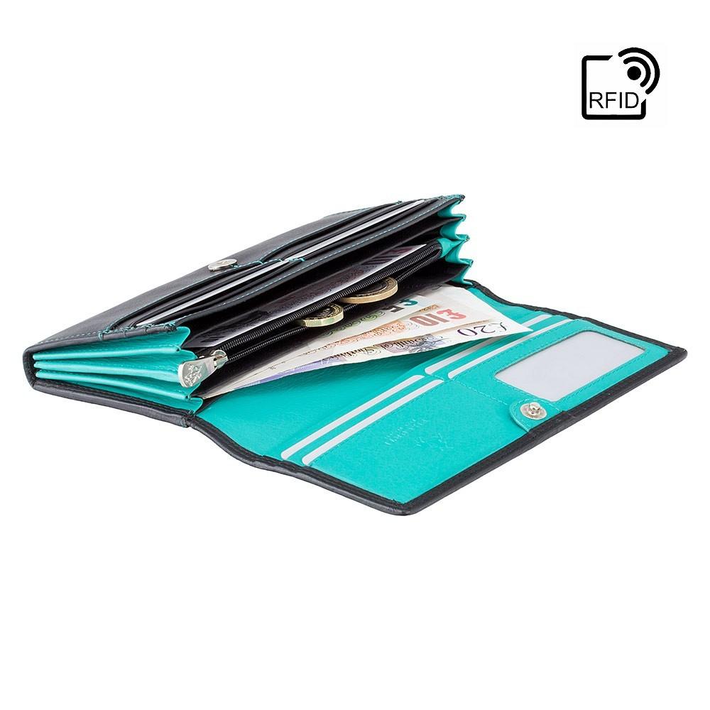 Женский кошелек Visconti CD21 с RFID - Topaz (Black-Aqua)