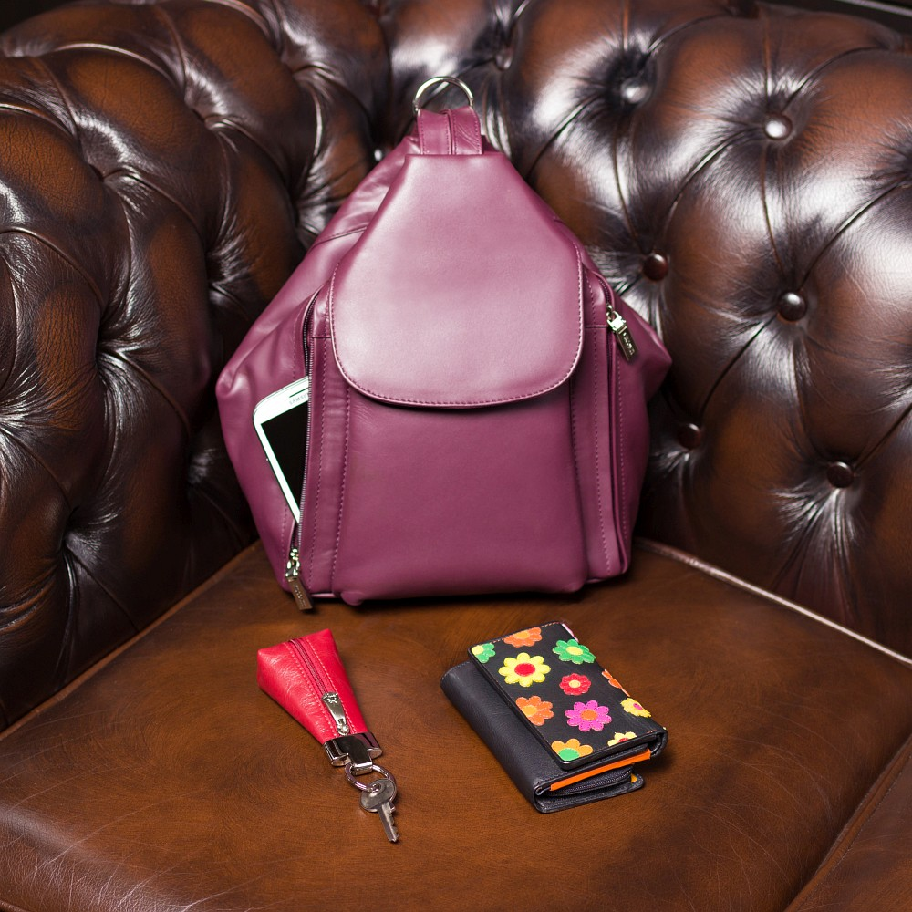 Женский кошелек в цветочки на кнопке Visconti DS81 - Paris (black)