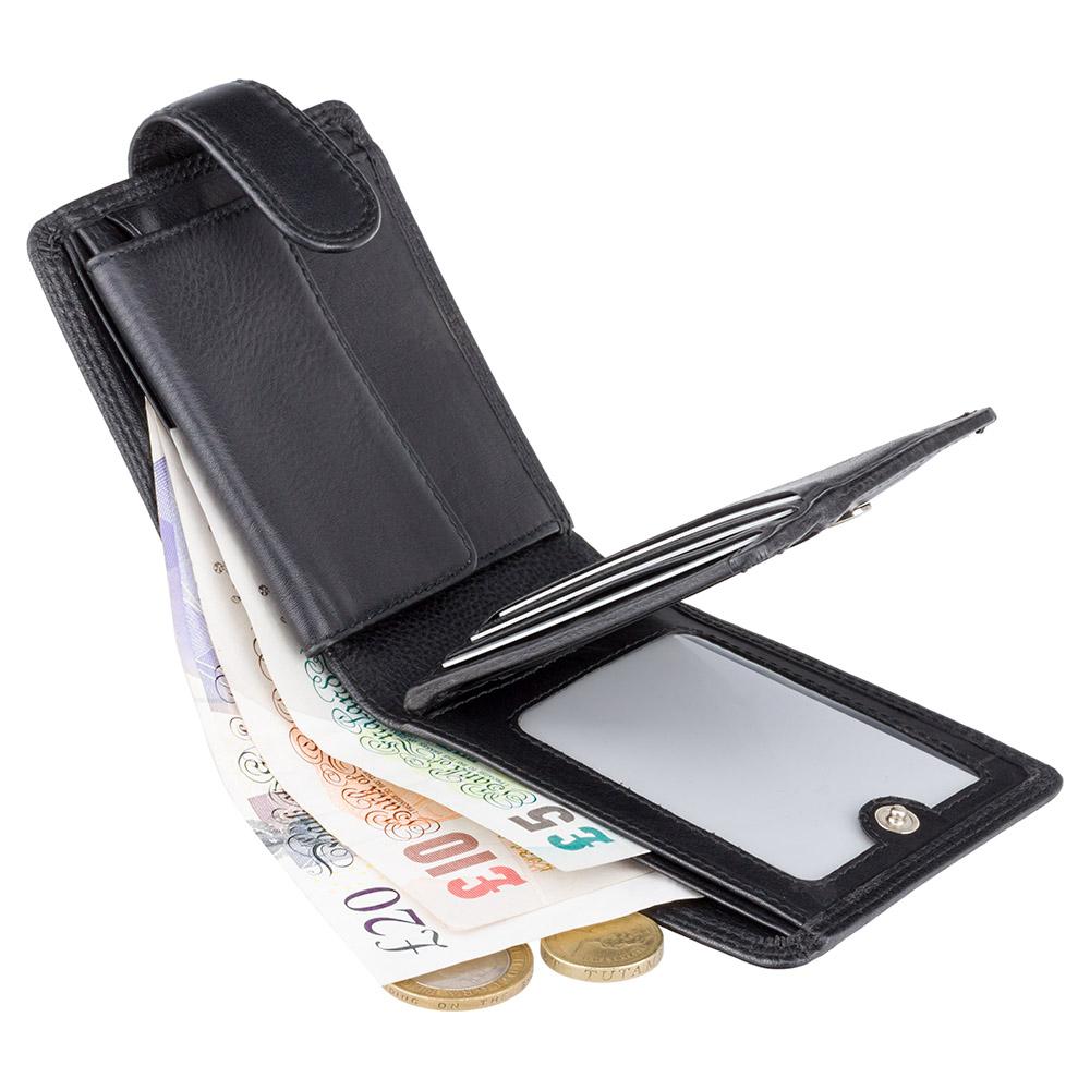 Мужской кожаный кошелек с монетницей на кнопке Vіsconti HT10 - Knightsbrige (Black)